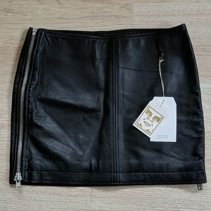 Obey Caveat Leather Skirt
